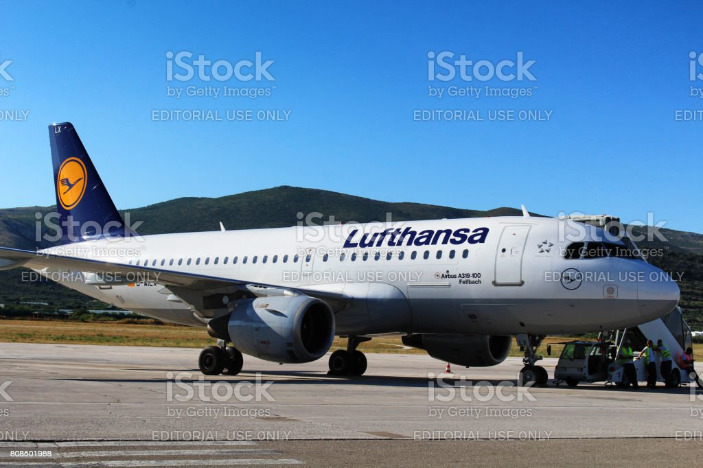 Lufthansa aircraft at Split Airport stock photo