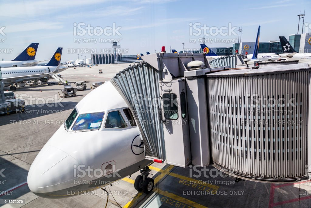 lufthansa aircraft ready for boarding at the gate stock photo