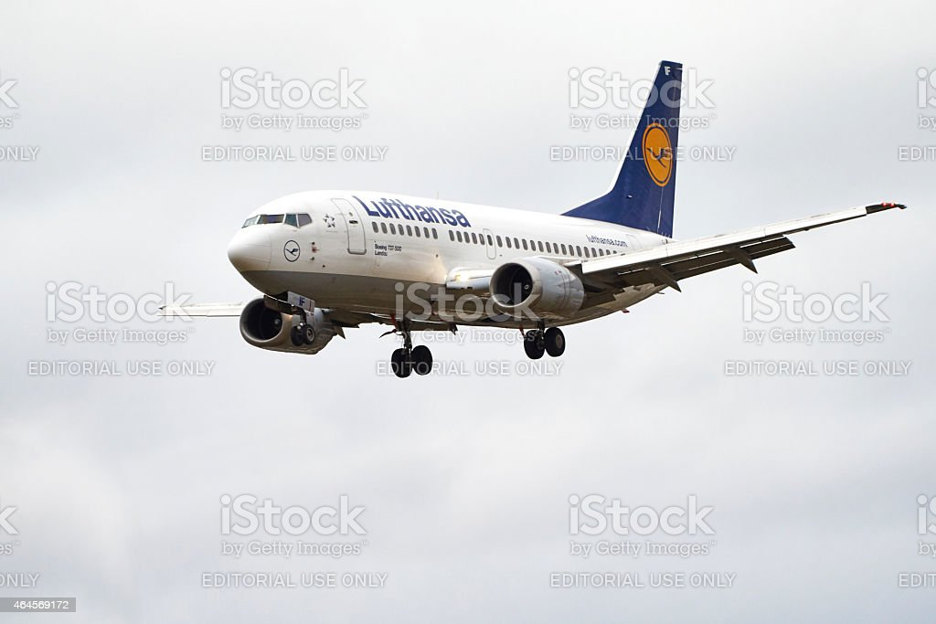 Lufthansa airplane boing approach for landing stock photo