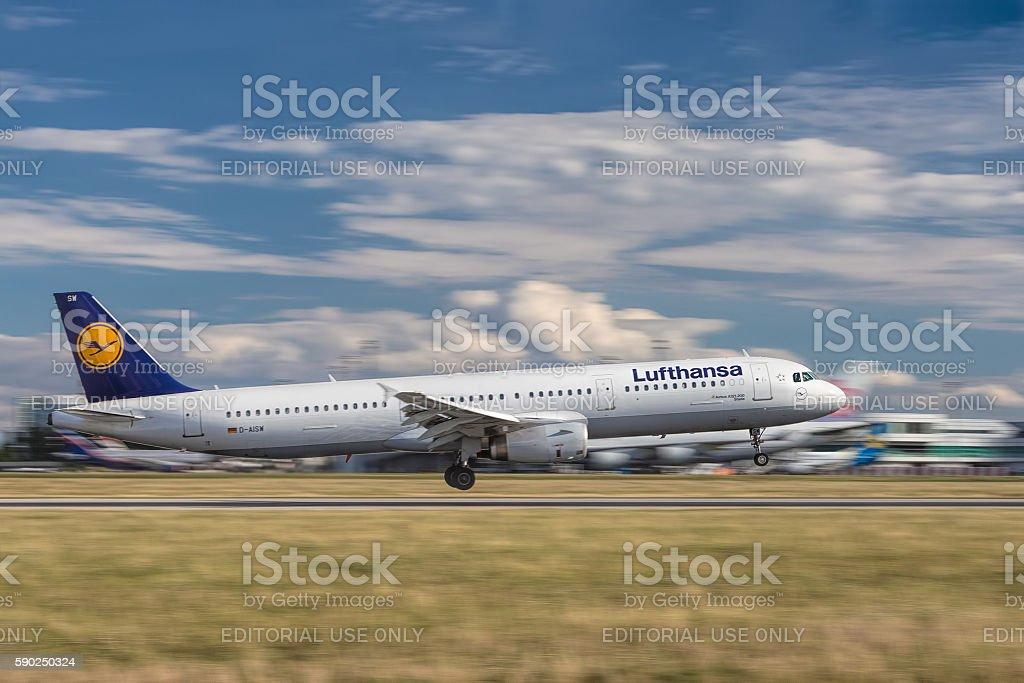 Lufthansa airplane landin in Prague stock photo