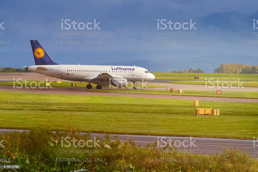 Lufthansa airplane Taxiing to the runway stock photo