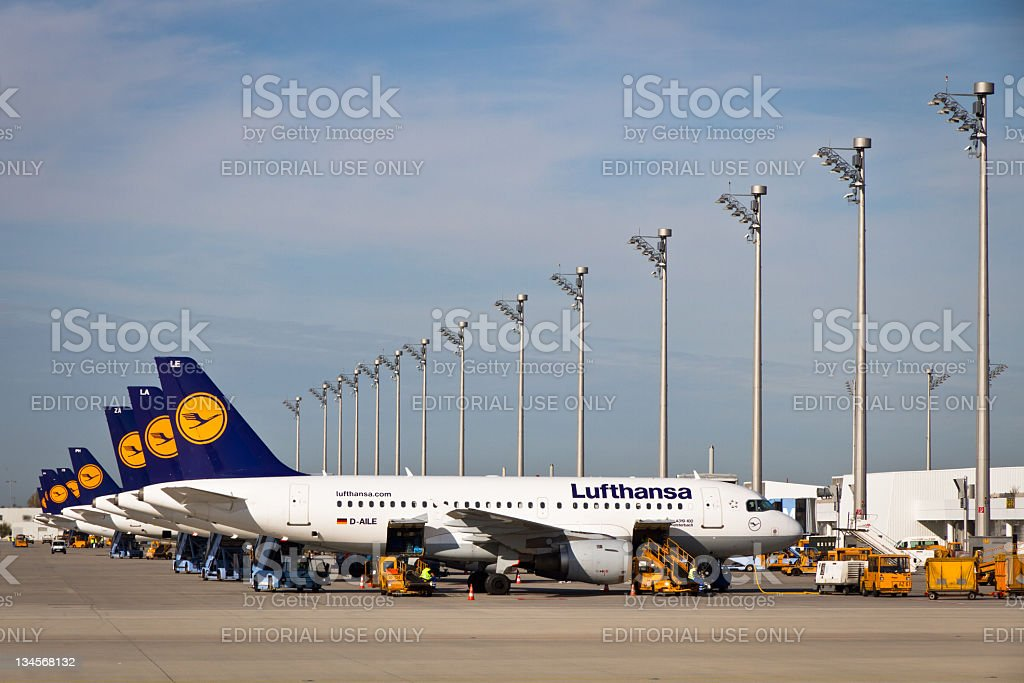 Lufthansa Airplanes on Munich Airport royalty-free stock photo