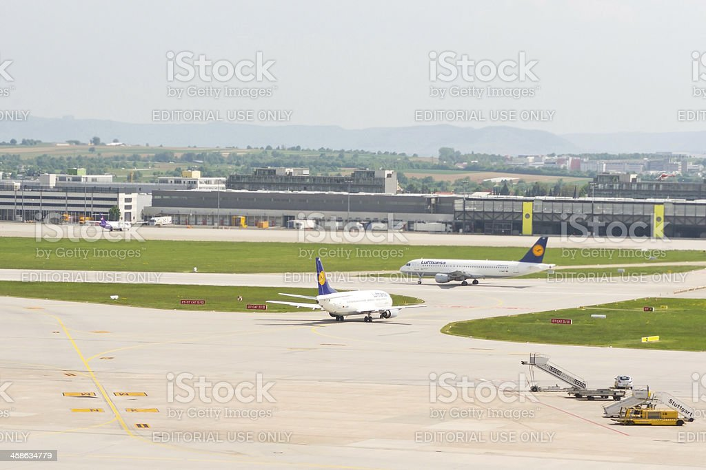 Lufthansa at Stuttgart Airport stock photo