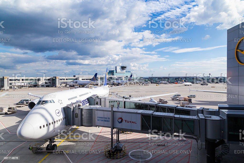 Lufthansa boeing 747 at Frankfurt Airport stock photo