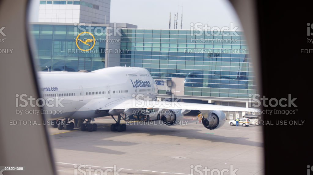 FRANKFURT, GERMANY - SEPTEMBER 28, 2014: Lufthansa Boeing 747-400 stock photo