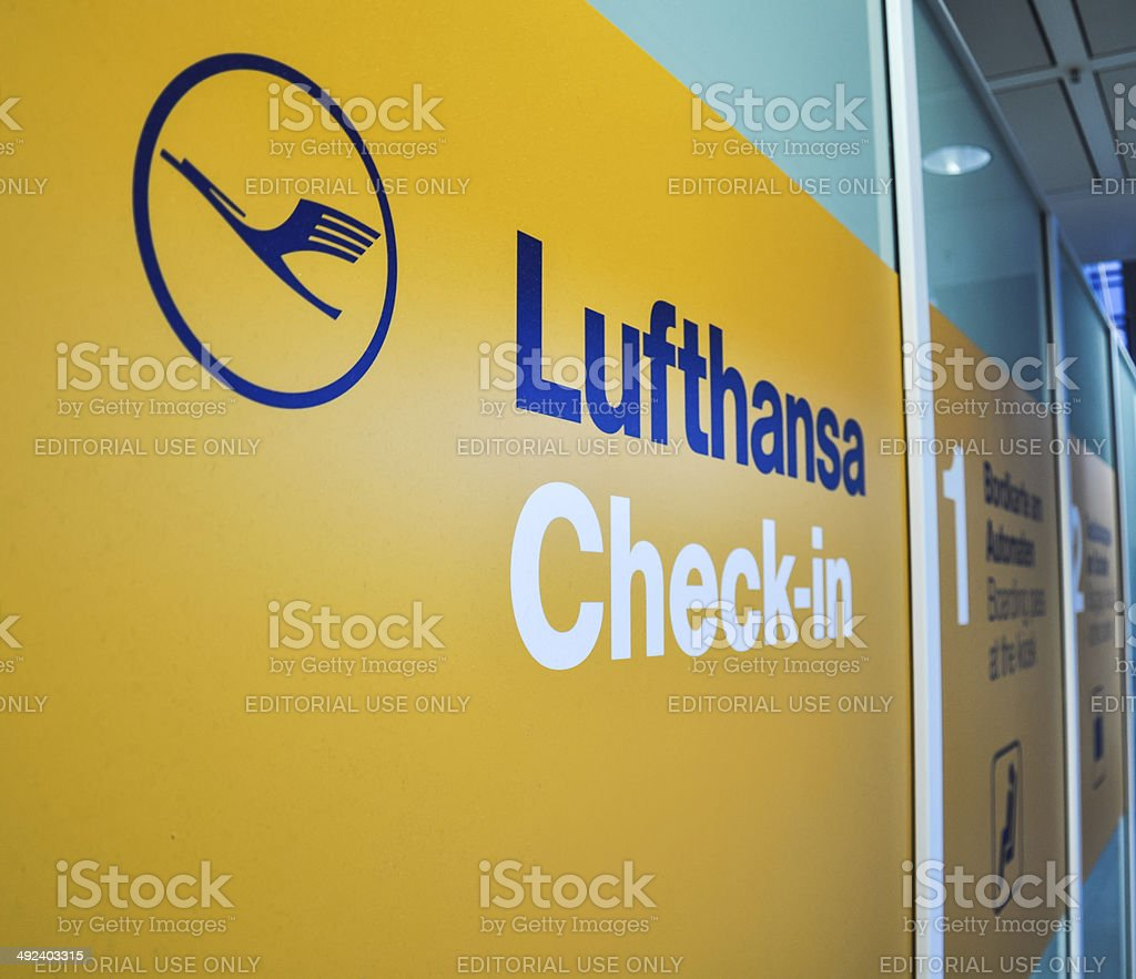 Lufthansa Check-in - Munich Airport, Germany stock photo