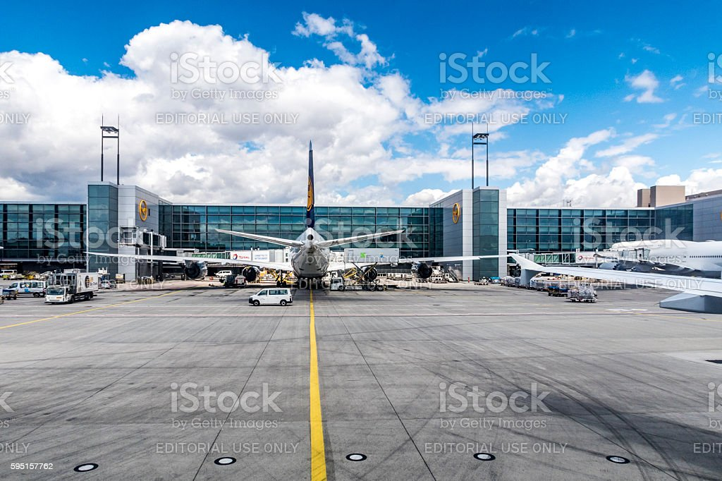 Lufthansa Flight at the gate in Frankfurt stock photo