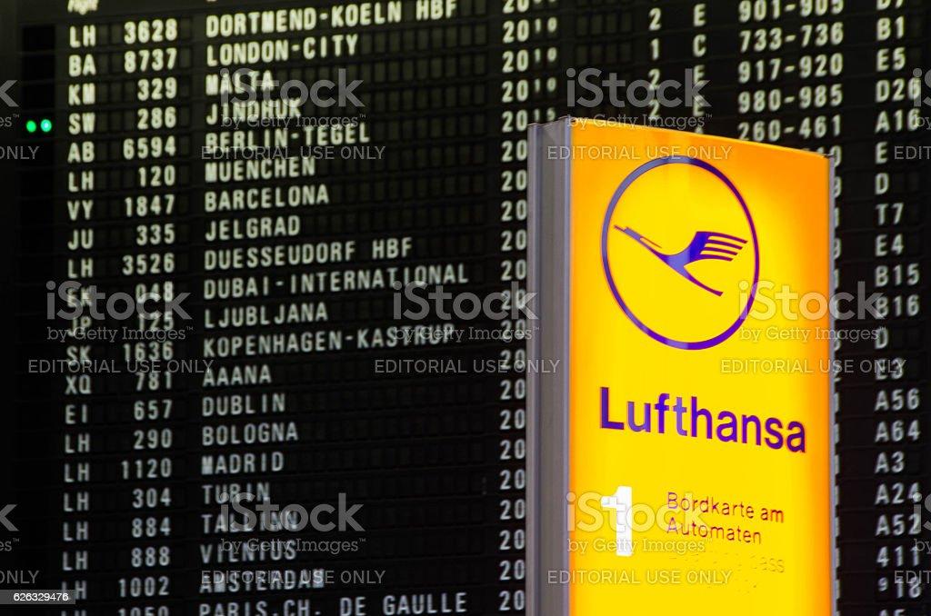 Lufthansa in Frankfurt Flughafen stock photo