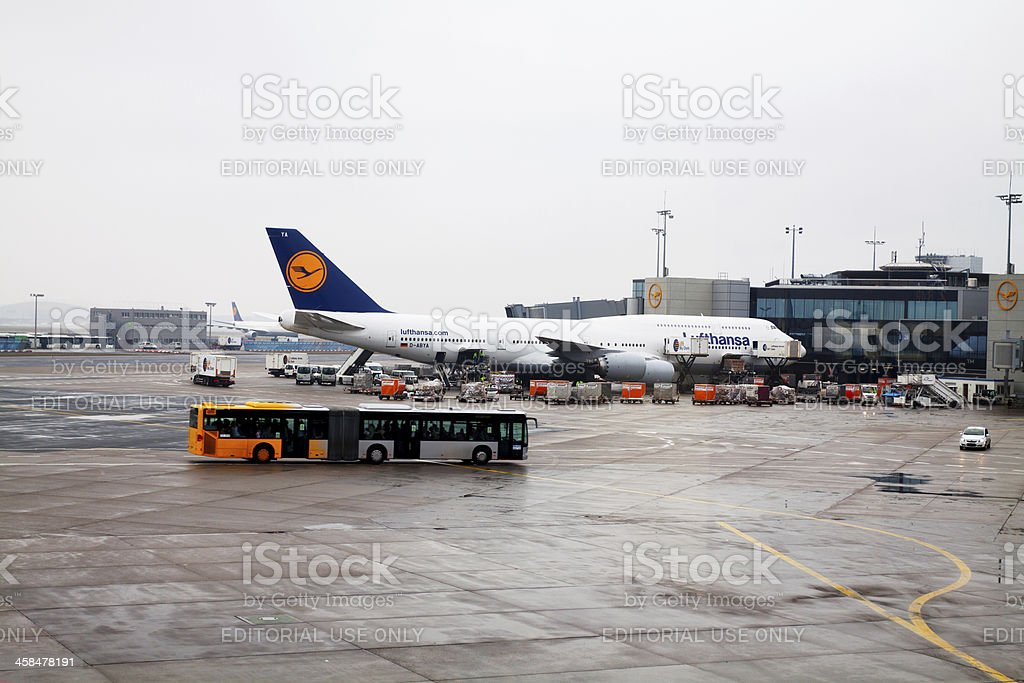 Lufthansa in Frankfurt royalty-free stock photo