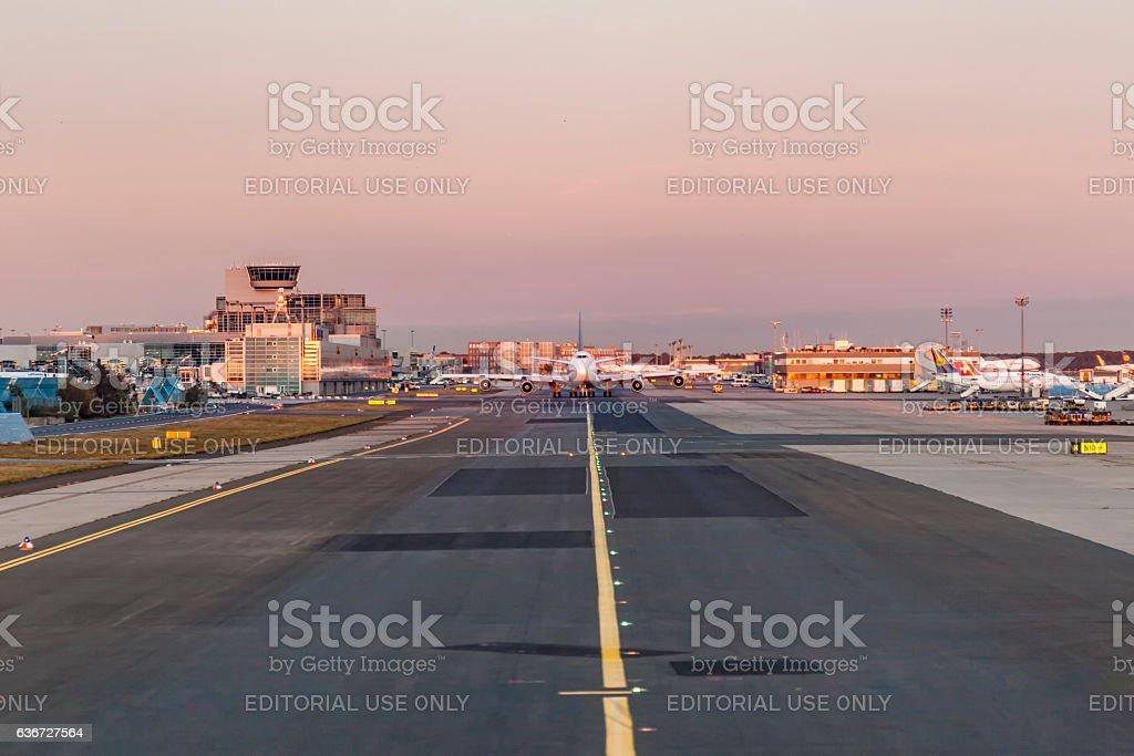 lufthansa Jumbo aircraft B747 is taxiing to the runway stock photo