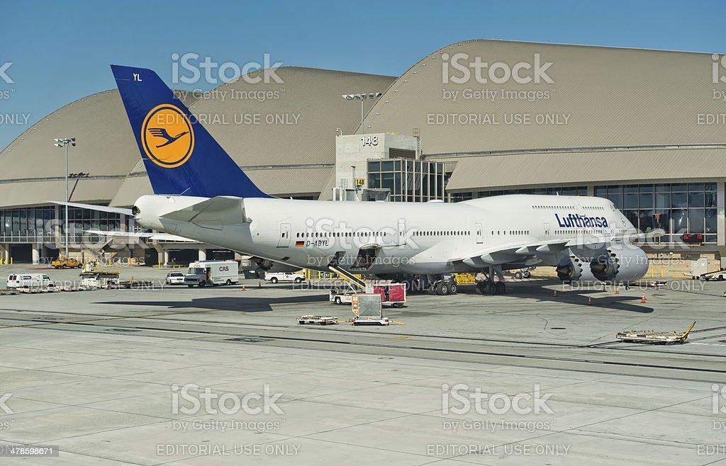 Lufthansa Jumbo Jet stock photo