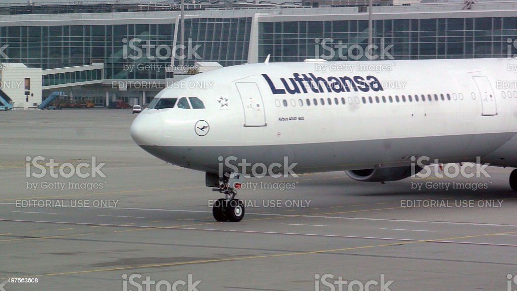 Lufthansa Passenger Airplane Taxiing To Take Off From Munich Airport.Germany stock photo