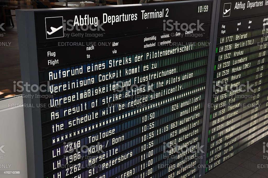 Lufthansa pilot strike announcement at Munich airport Terminal 2 stock photo