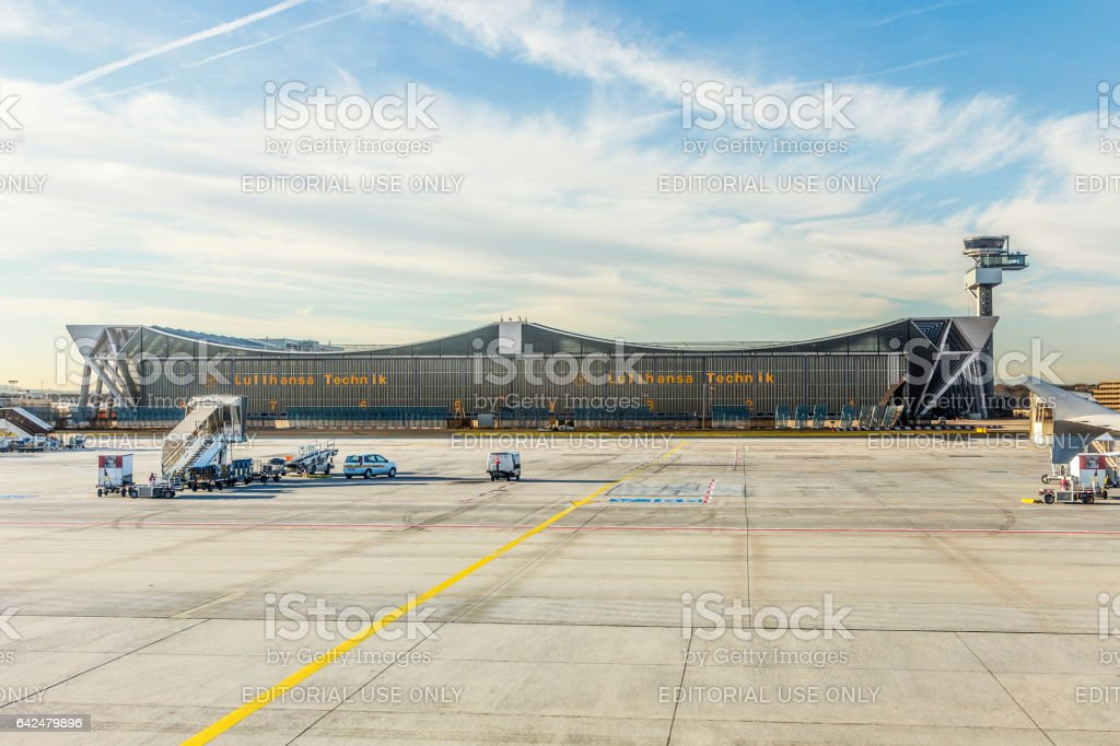 Lufthansa Technik maintanance hall in Frankfurt Germany stock photo