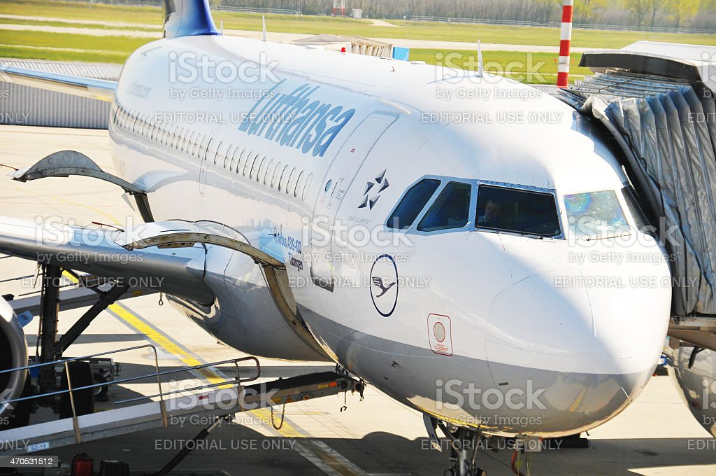 Lufthansa's Airbus A319-100 at airport gate waiting for take off stock photo