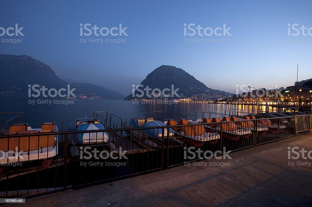 Lugano by night stock photo