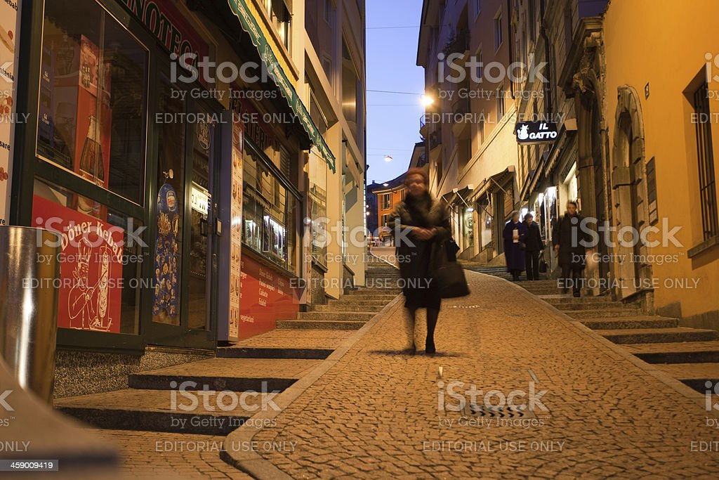 Lugano by night royalty-free stock photo