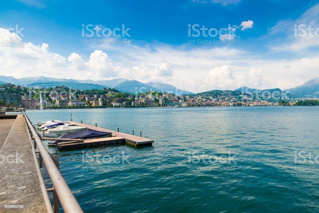 Lugano city, lake Lugano, Switzerland. View of the gulf of Lugano on a beautiful summer day stock photo