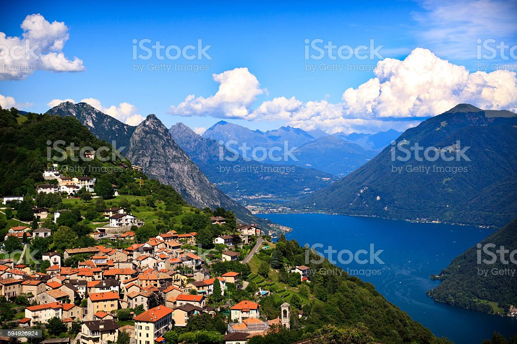 Lugano city with the view of lake Lugano stock photo