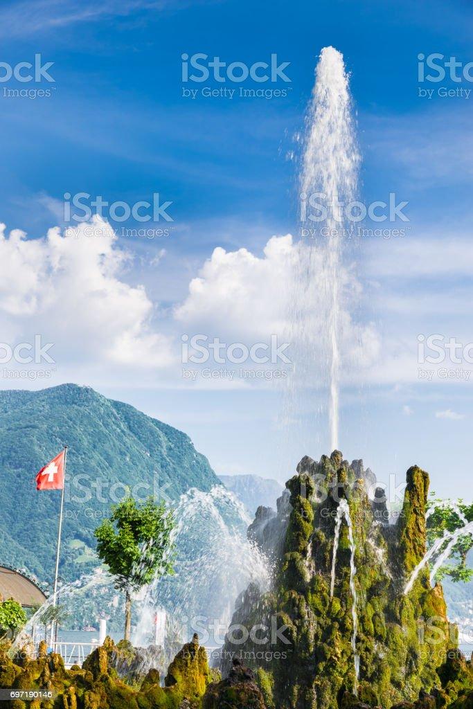 Lugano, lake Lugano, Switzerland. Lakeside of Lugano city in the canton of Ticino on a beautiful summer day stock photo