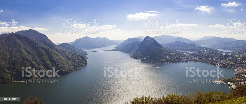 Lugano lake panorama stock photo