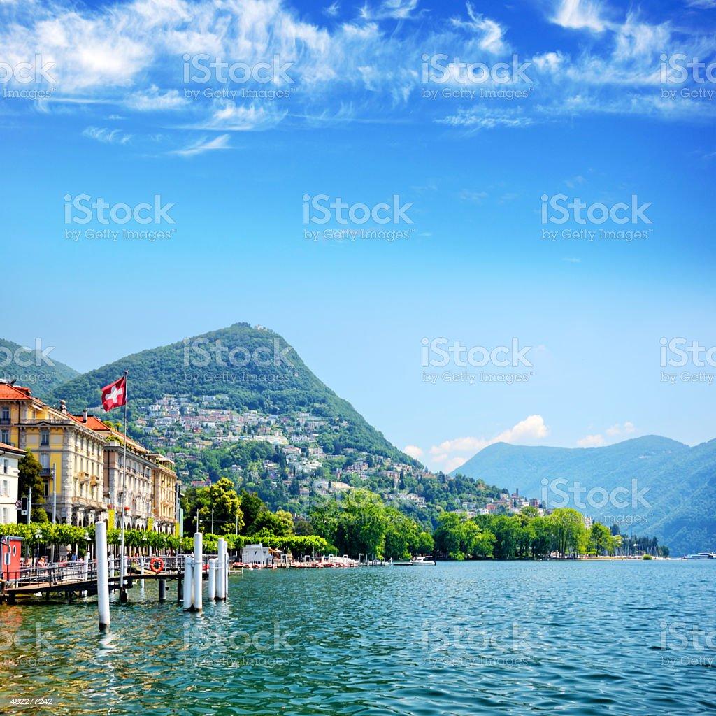 Lugano lake, Switzerland stock photo