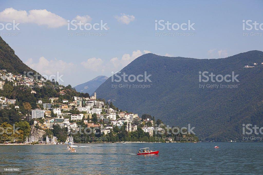Lugano lake/city in Switzerland. royalty-free stock photo