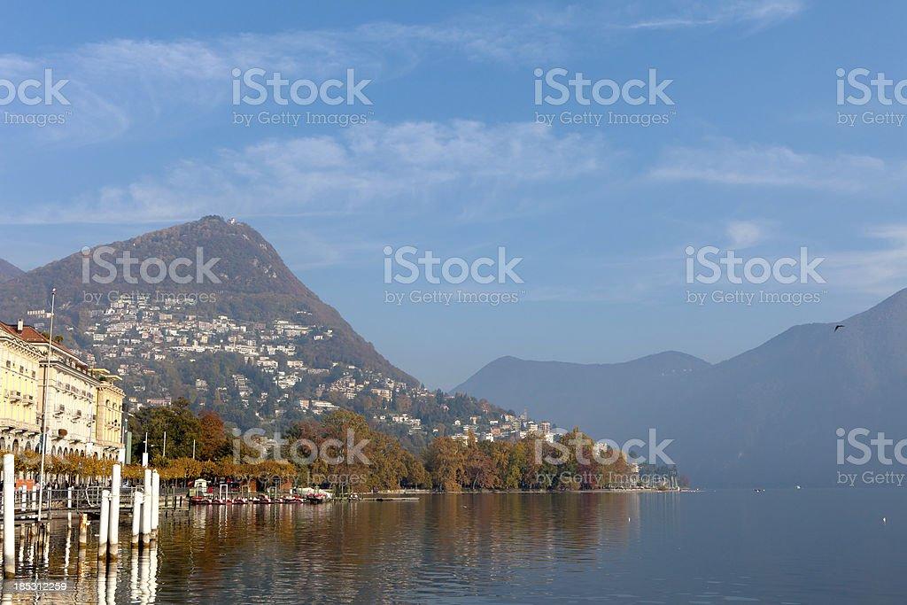 Lugano lake/city in Switzerland royalty-free stock photo