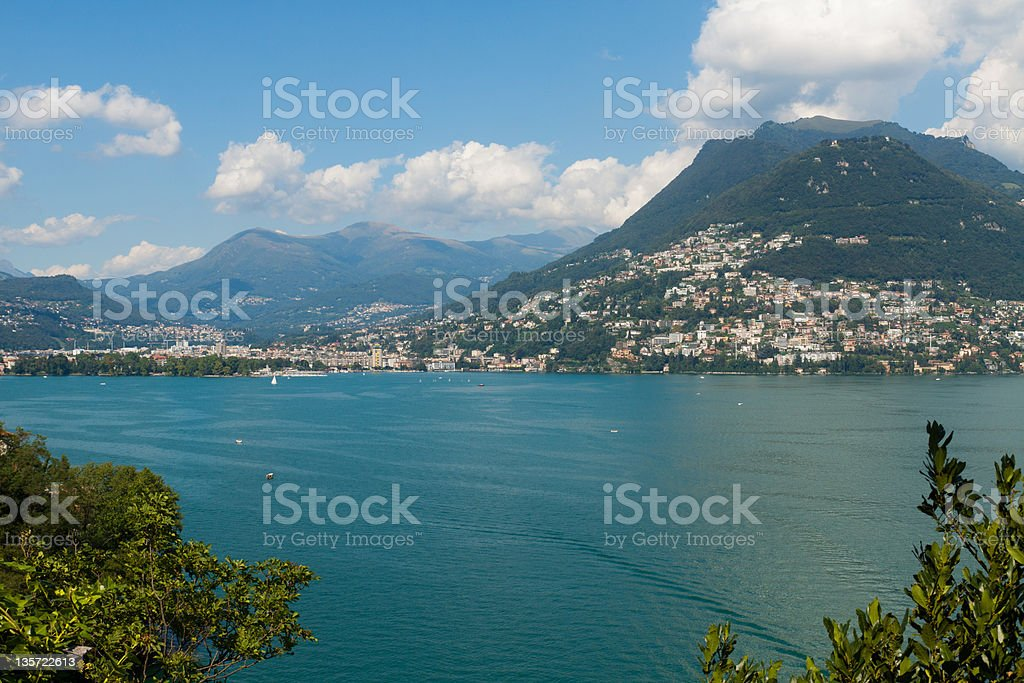 Lugano view from the lake royalty-free stock photo