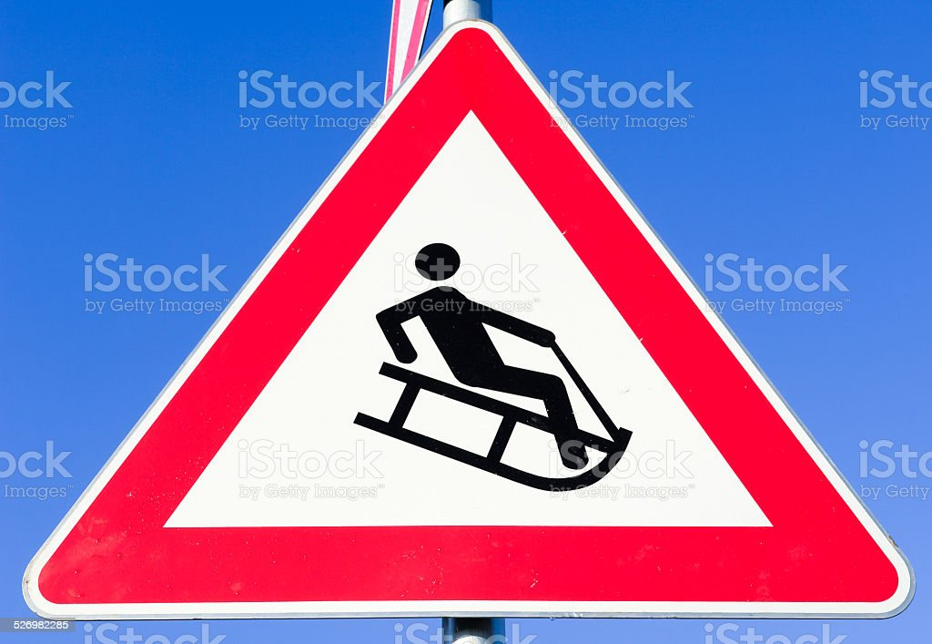 luge warning sign stock photo