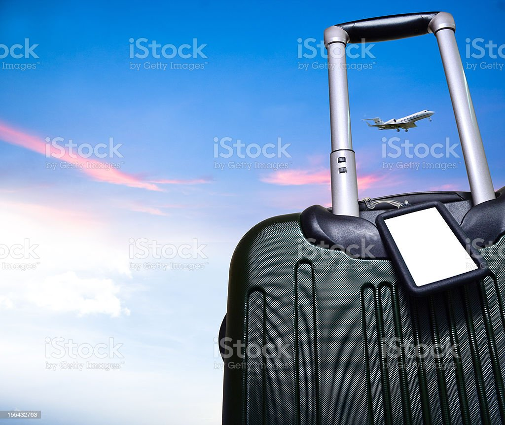 luggage and airplane on beautiful sky travel concept stock photo