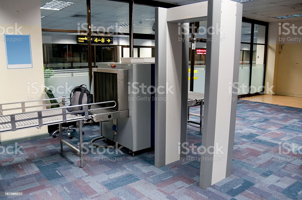 Luggage and body scanner in an airport security check point stock photo
