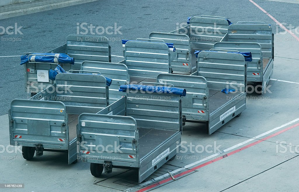 Luggage cart at an airport stock photo