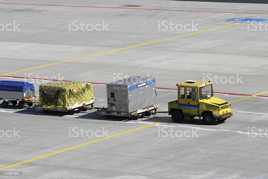 Luggage cart on airport stock photo