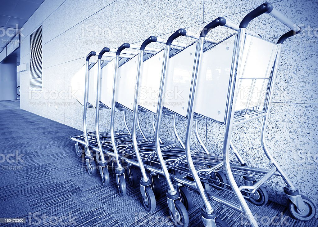 Luggage carts airport royalty-free stock photo