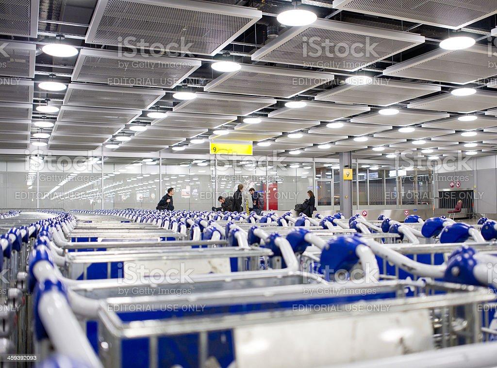 luggage carts at Cointrin, Geneva International Airport Switzerland royalty-free stock photo