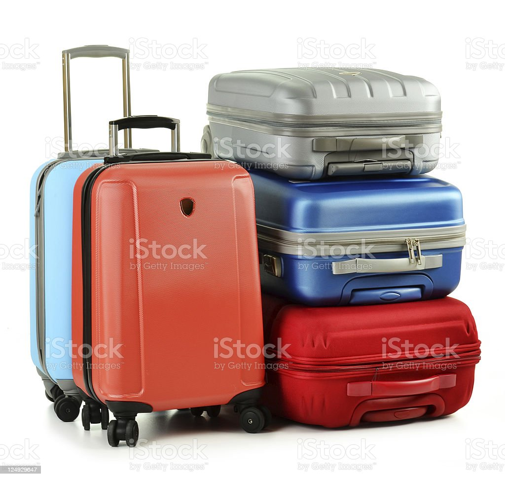 Luggage consisting of five suitcases isolated on white stock photo