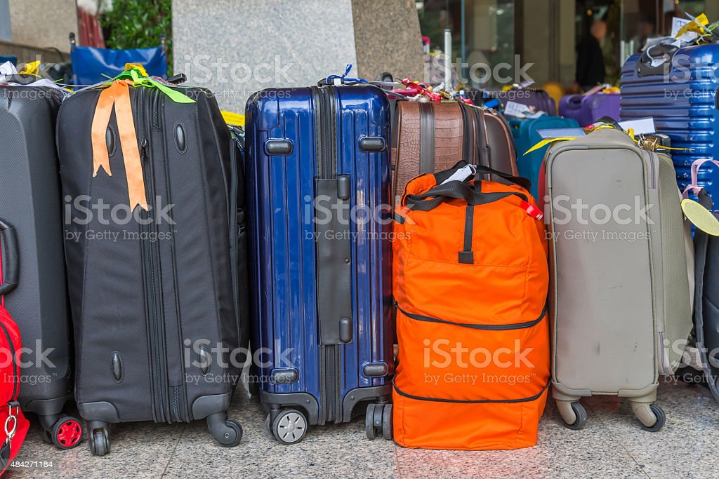 Luggage consisting of large suitcases rucksacks and travel bag stock photo