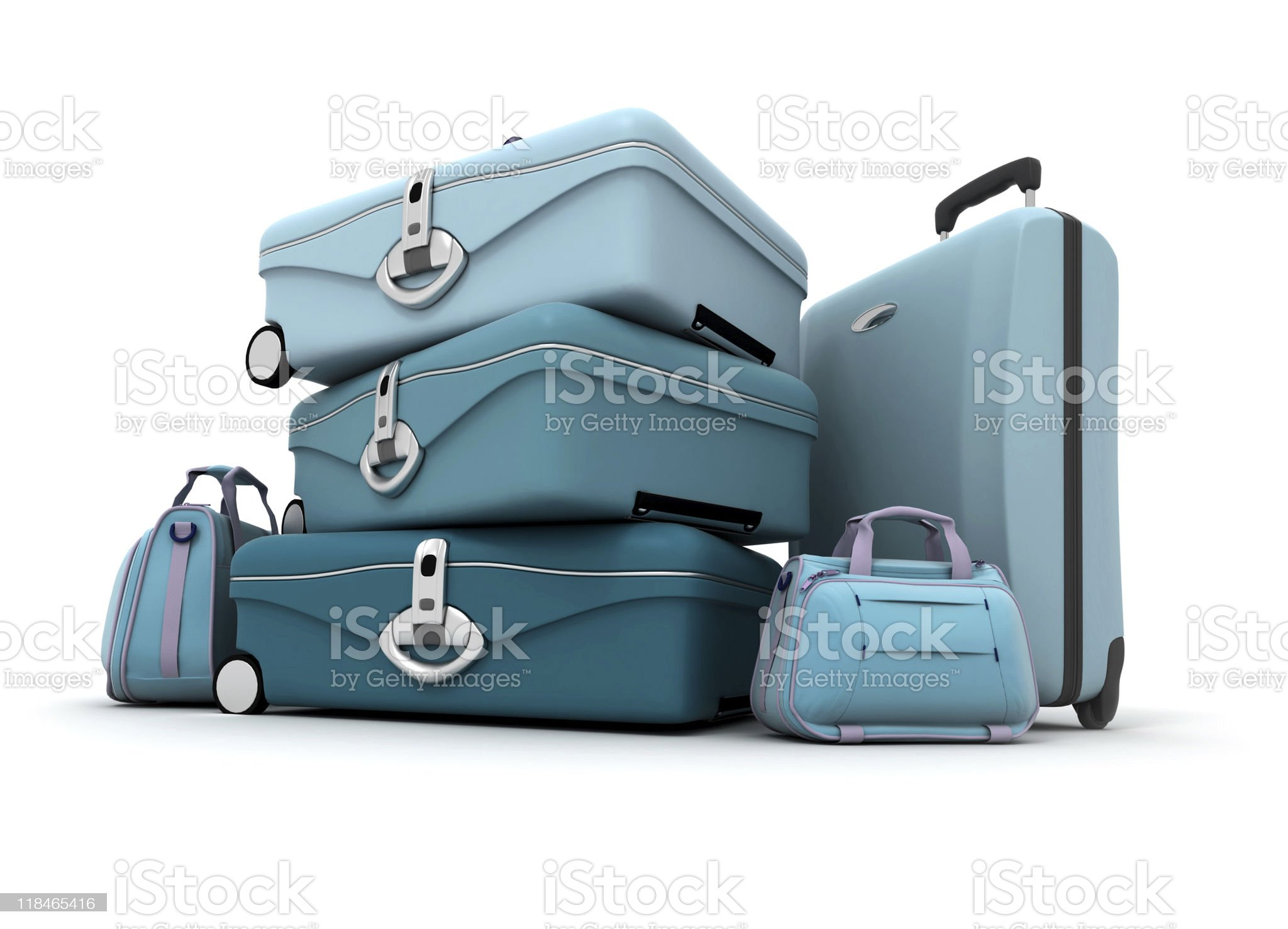 Luggage in blue shades royalty-free stock photo