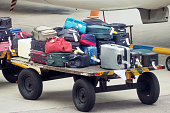 Luggage in the airport near the airplane