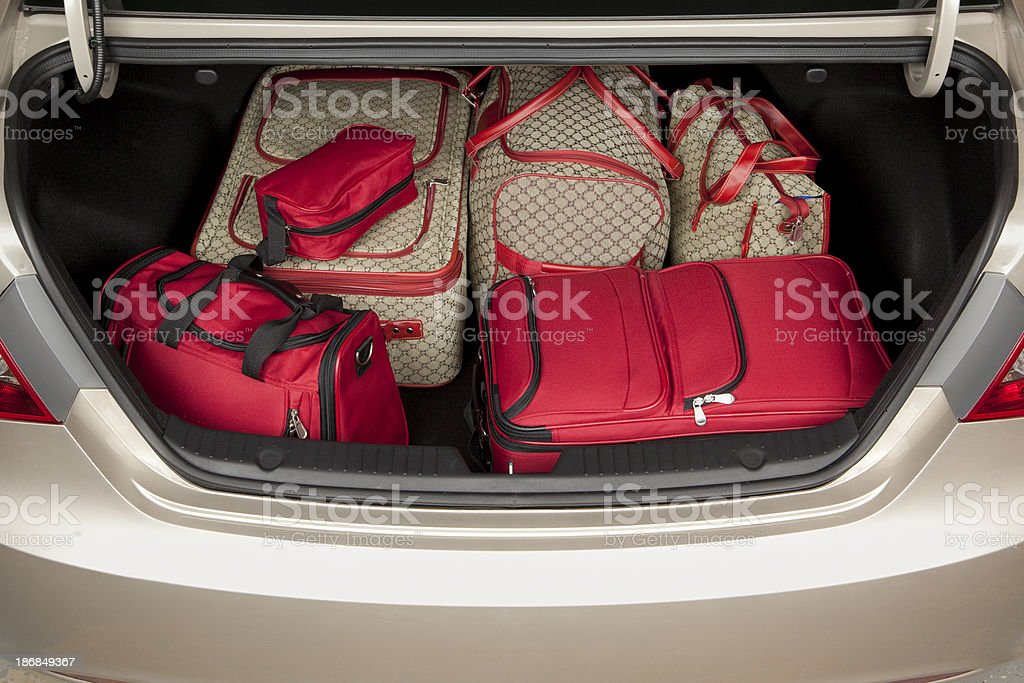 Luggage in the Trunk of a Car royalty-free stock photo