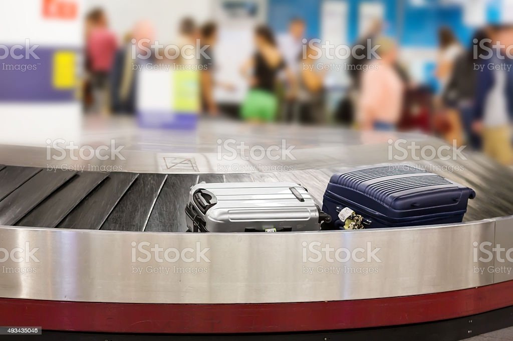 Luggage on the track stock photo