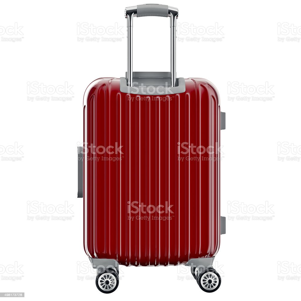 Luggage on wheels red, back view stock photo