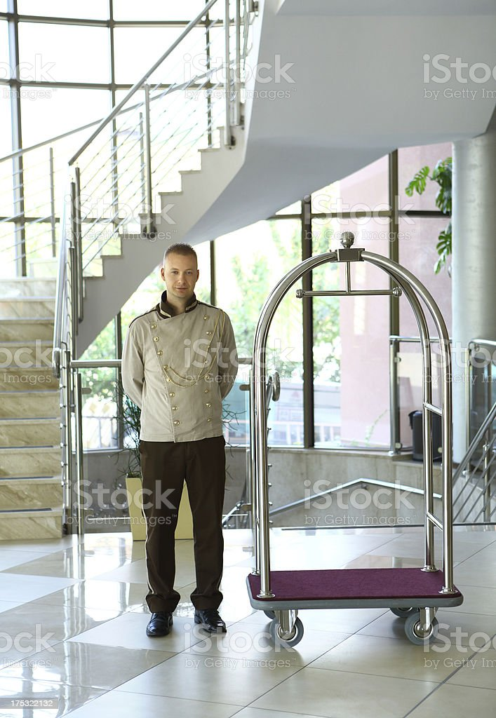 Luggage person in hotel. stock photo