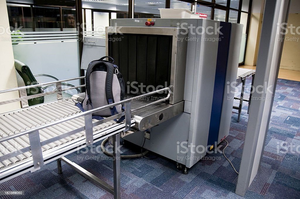 Luggage Scanner In An Airport stock photo