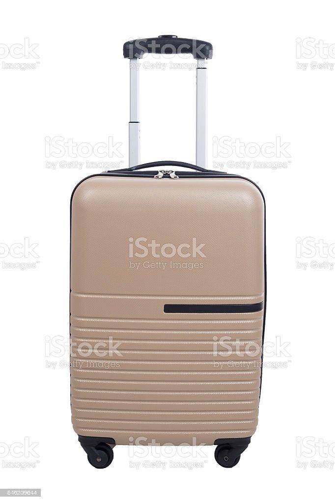 Luggage travel open bag isolated white background. stock photo