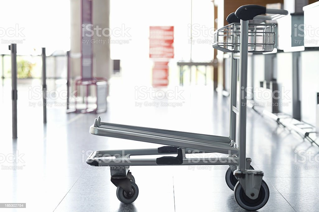 Luggage Trolley At The Airport stock photo