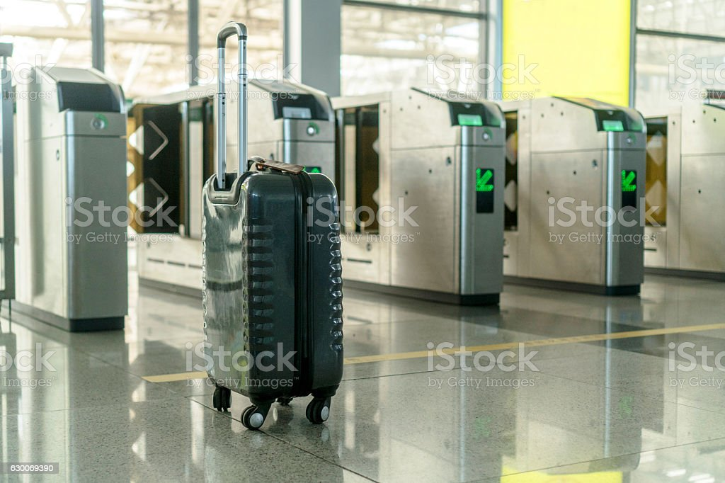 Luggage waiting for departure stock photo