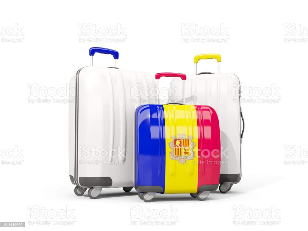 Luggage with flag of andorra. Three bags isolated on white stock photo