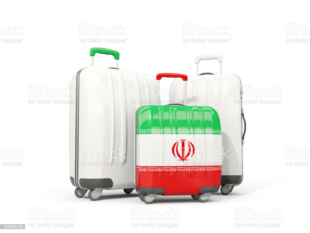 Luggage with flag of iran. Three bags isolated on white vector art illustration
